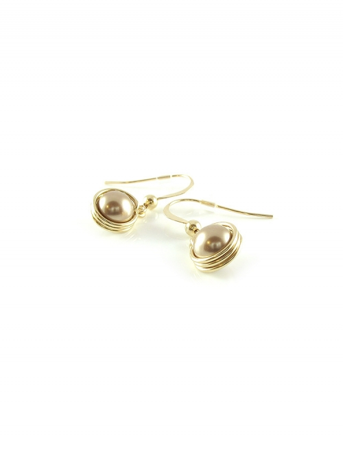 Busted Pearl Bronze - earrings