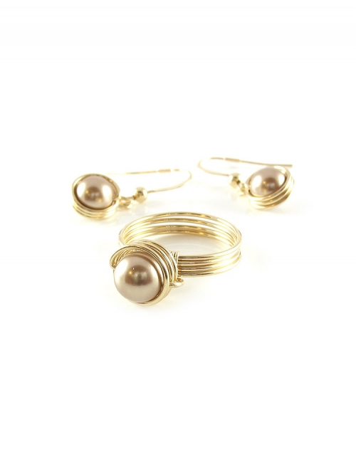 Busted Pearl Bronze set - ring and earrings