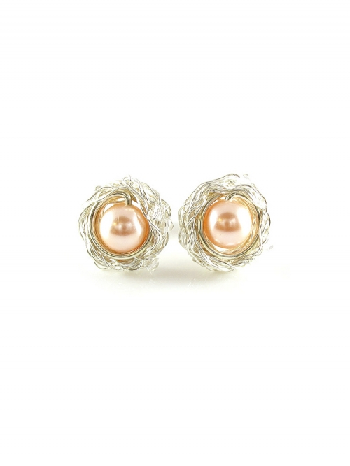 Sweet Peach - Silver earrings