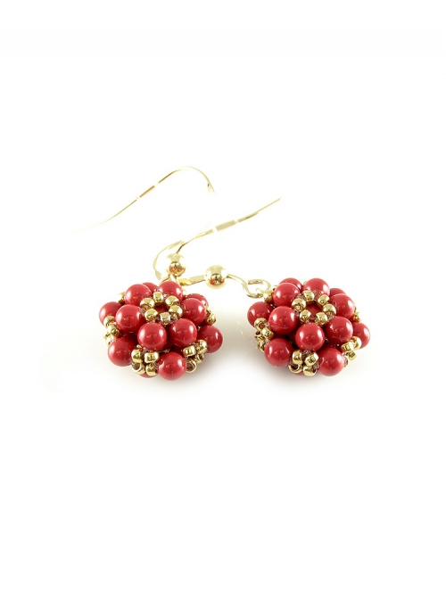 Dangle earrings by Ichiban - Daisies Red Coral