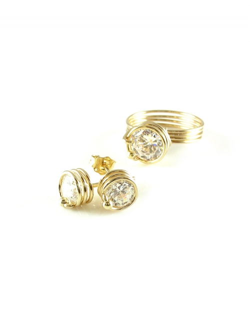 Busted Crystal Clear set - ring and earrings