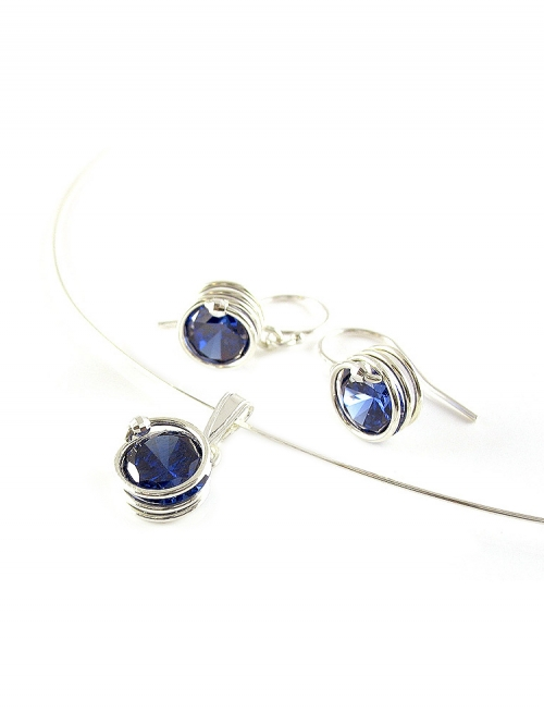 Busted Silver Dark Blue set - pendant and earrings