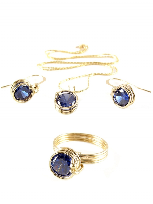 Busted Dark Blue set - pendant, earrings and ring