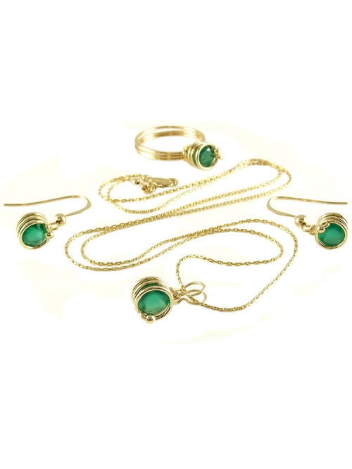 Busted Deluxe Green Onyx set - pandantiv, inel si cercei