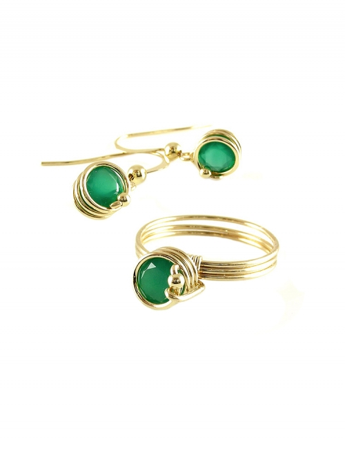 Busted Deluxe Green Onyx set - ring and earrings