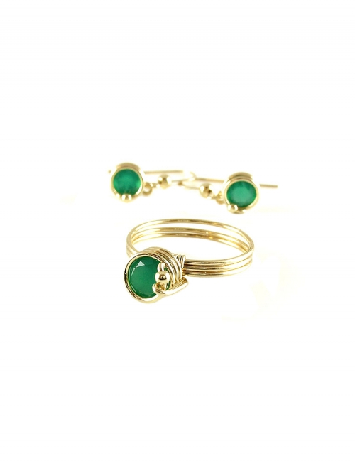 Busted Deluxe Green Onyx set - inel si cercei