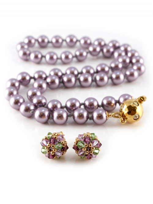 Desire Mauve set - necklace and earrings