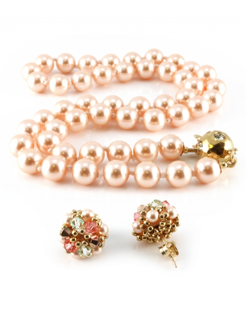 Desire Peach set - necklace and earrings