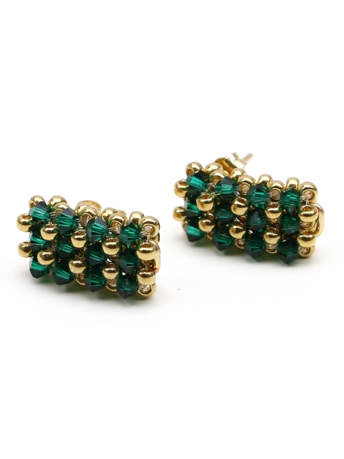 Business emerald - stud earrings