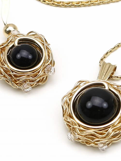 Sweet Black Velvet set - pendant and earrings