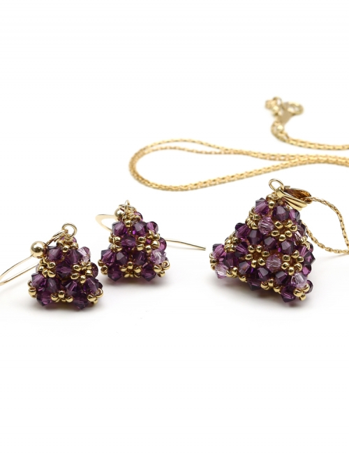 Pyramid Amethyst set - pendant and earrings