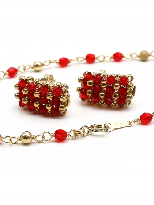Executive Light Siam set - bracelet and stud earrings