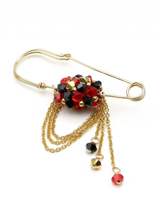 Brooch with Swarovski pearls and crystals - for women - Arlechino