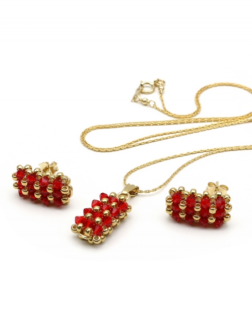 Business Light Siam - pendant and stud earrings