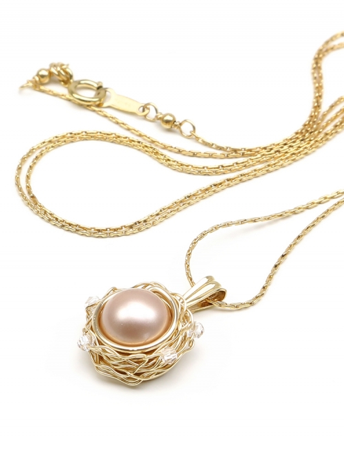 Pendant with Swarovski pearl - for women - Sweet Almond