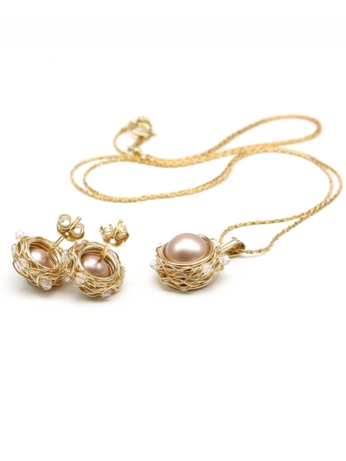 Set with Swarovski pearls - pendant and stud earrings - for women - Sweet Almond