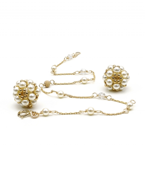 Set with Swarovski pearls -  bracelet and stud earrings - for women - Daisies Cream