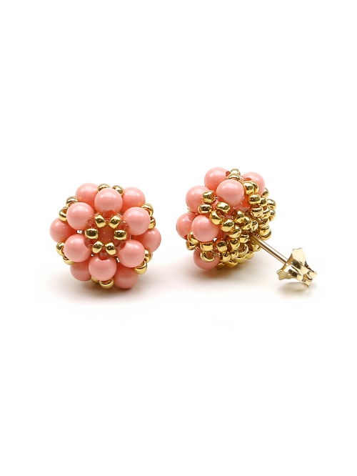 Daisies Pink Coral - earrings