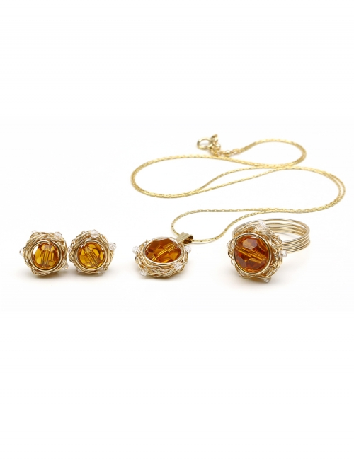 Set pendant, stud earrings and ring by Ichiban - Sweet Topaz