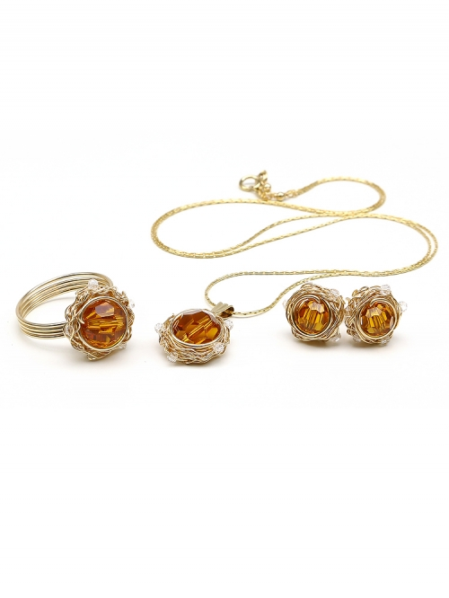 Sweet Topaz set - pendant, stud earrings, ring