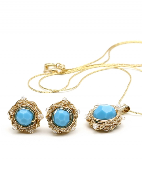 Sweet Turquoise set - pendant and stud earrings