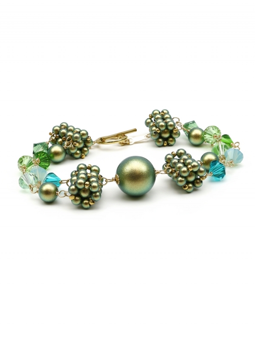 Bracelet with green Swarovski pearls and crystals - for women - Dantelique Herba Fresca