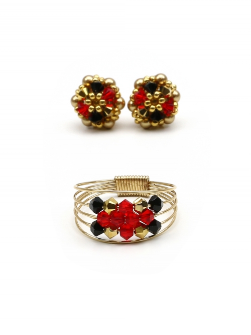 Set stud earrings and ring by Ichiban - Arlechino