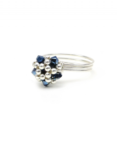 Silver ring with blue Swarovski crystals - for women - Charm Blue