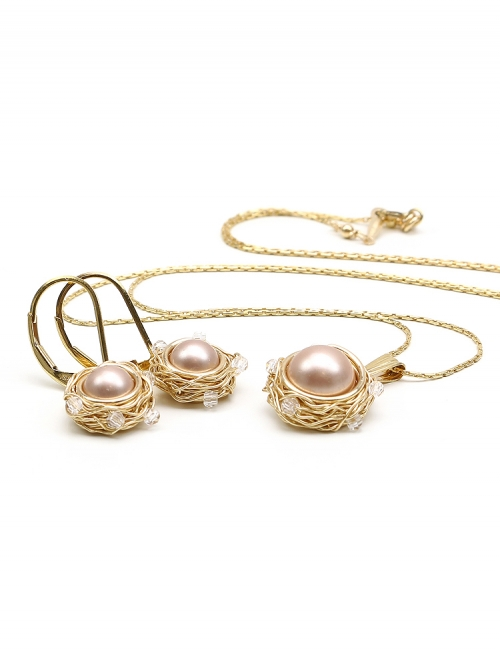 Set with brown Swarovski pearls - pendant and leverback earrings - for women - Sweet Almond