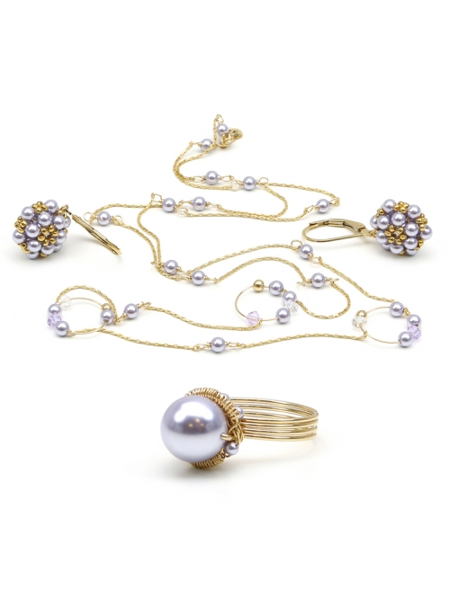 Fineline Lavander Circle set - necklace, ring and leverback earrings
