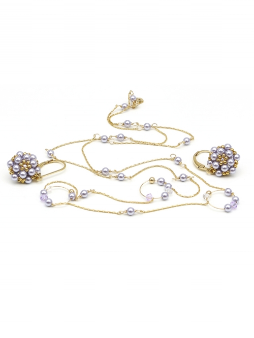 Fineline Lavander Circle set - necklace and leverback earrings