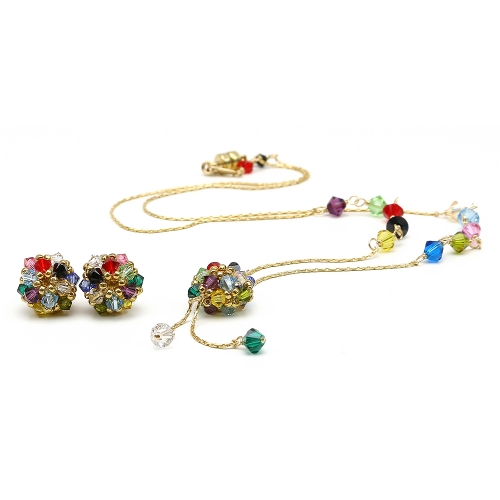 Daisies Multicolor set - necklace and stud earrings