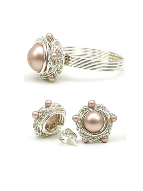 Silver set with Swarovski pearls - ring and stud earrings - for women - Sweet Almond 925 Silver