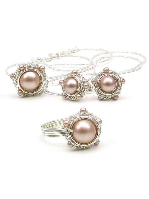 Silver Set with Swarovski pearls - pendant, stud earrings and ring - for women - Sweet Almond 925 Silver