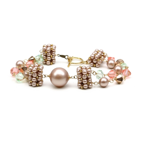 Bracelet with Swarovski pearls and crystals - for women - Dantelique SpringLook