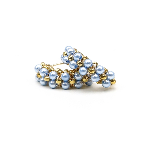 Minidiva Pearls Light Blue - earrings