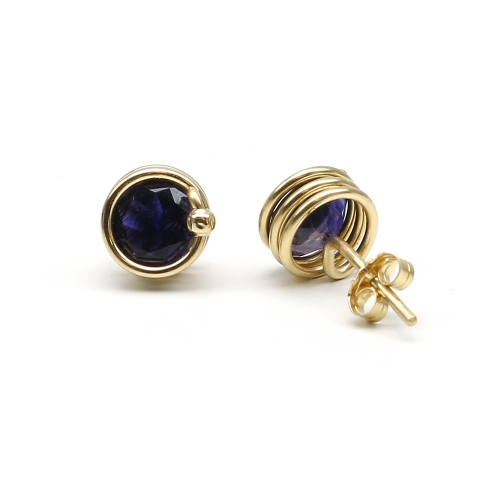 Busted Gemstone Deluxe Iolite - stud earrings