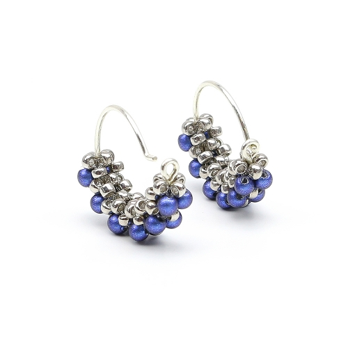 Minidiva Pearls Iridescent Dark Blue - earrings