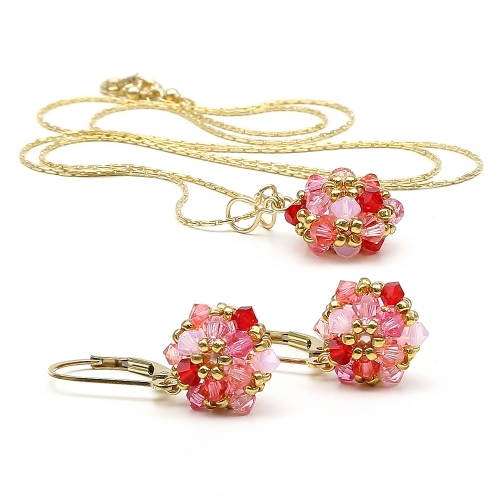 Daisies Tutti Frutti set - pendant and leverback earrings