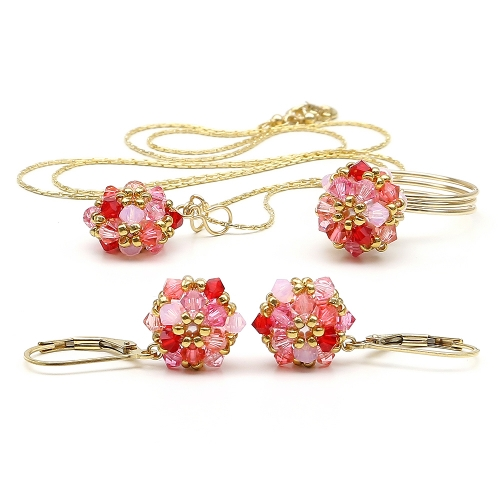 Daisies Tutti Frutti set - pendant, leverback earrings and ring