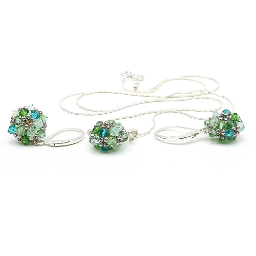 Daisies Herba Fresca set - 925 Silver pendant and leverback earrings
