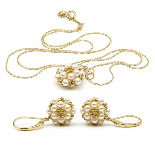 Daisies Creamrose Light set - pendant and leverback earrings