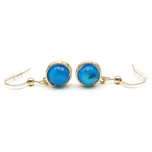 Earrings for women - Busted Gemstone Agate Blue