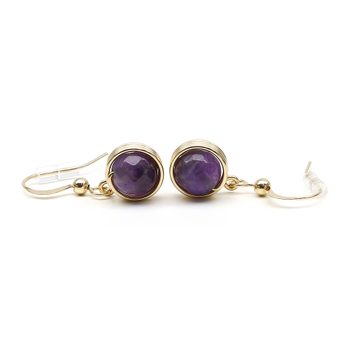 Busted Gemstone Amethyst - earrings