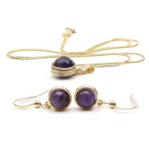 Busted Gemstone Amethyst set - pendant and earrings