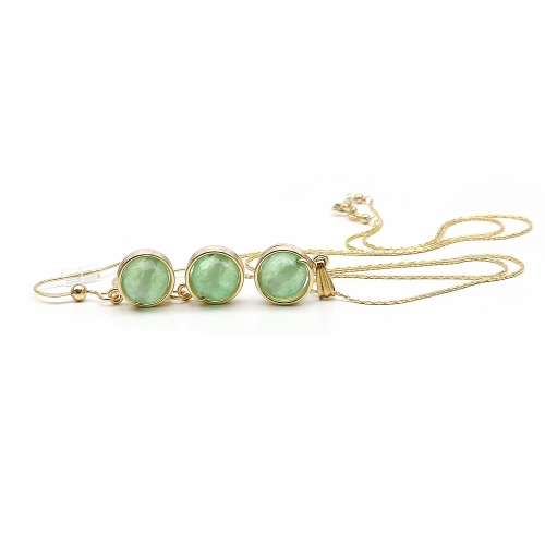 Busted Gemstone Aventurine set - pendant and earrings