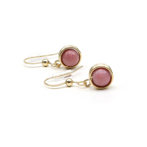Dangle earrings by Ichiban - Busted Gemstone Rhodonite