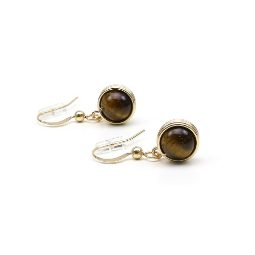 Dangle earrings by Ichiban - Busted Gemstone Tiger's Eye