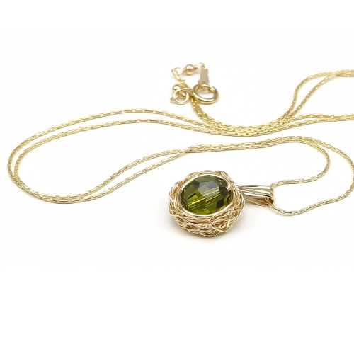 Pendant with green Swarovski crystal - for women - Sweet Olivine