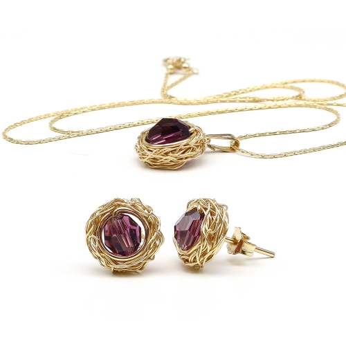 Set with purple Swarovski crystals -  pendant and stud earrings - for women -  Sweet Amethyst